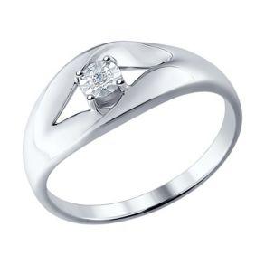 Кольцо из серебра с бриллиантом 87010017 SOKOLOV