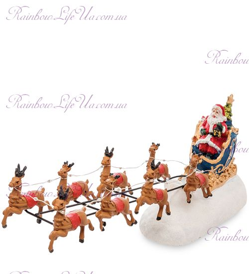 """Музыкальная новогодняя упряжка с подсветкой """"Санта и олени"""""""