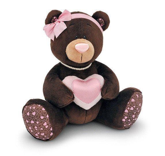 Мишка девочка Choco Milk с сердцем, 20 см, мягкая игрушка Orange M003/20ц