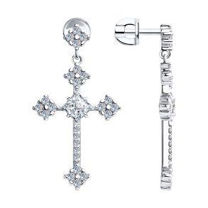 Серьги из серебра с фианитами 94023665 SKLV