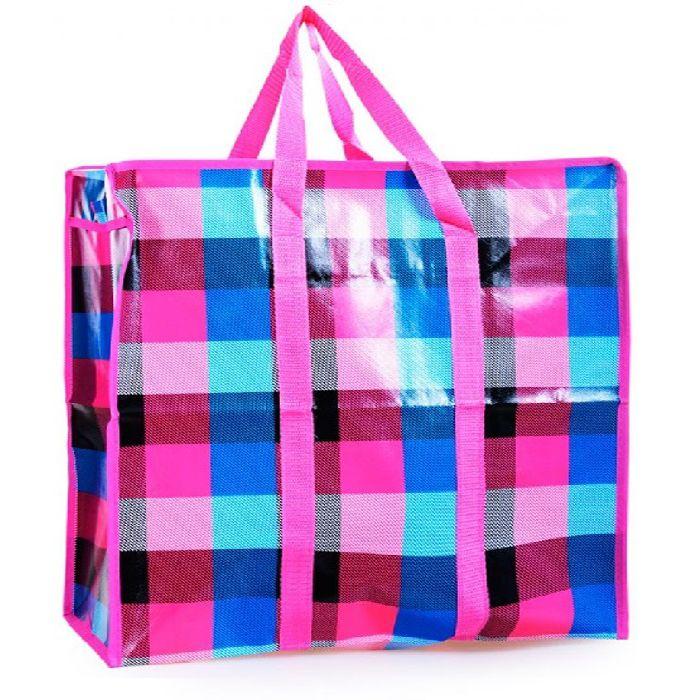 Двухслойная прочная хозяйственная сумка на молнии, 50х35х20 см, цвет розовый