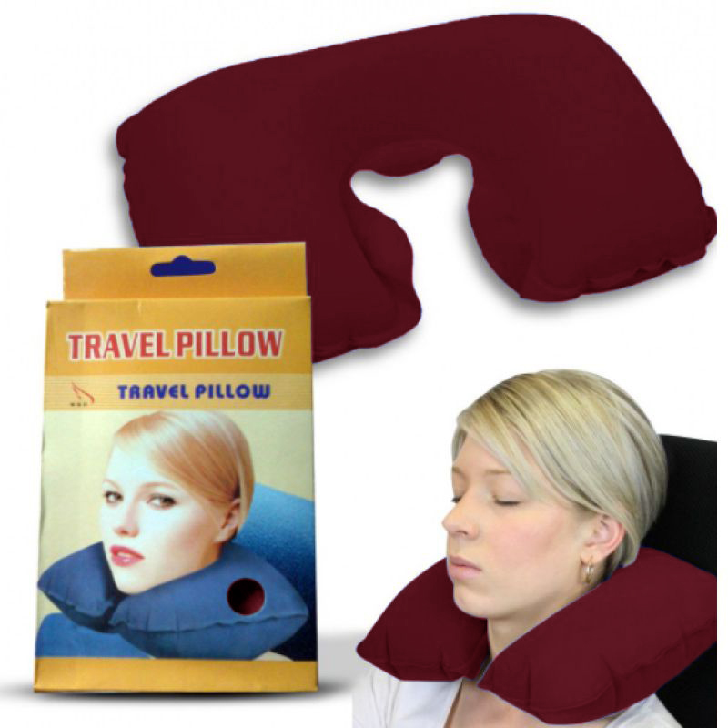 Подушка Для Путешествий Travel Pillow (Тревел Пиллоу), Цвет Бордовый