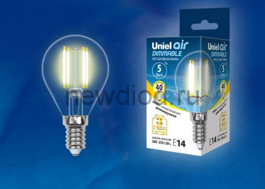 """Лампа сд диммируемая """"шар"""" LED-G45-5W/WW/E14/CL/DIM прозр. Серия Air 3000K Uniel"""