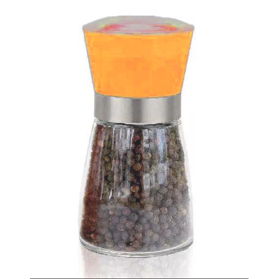 Стеклянная мельница для специй, 13х6 см, цвет оранжевый