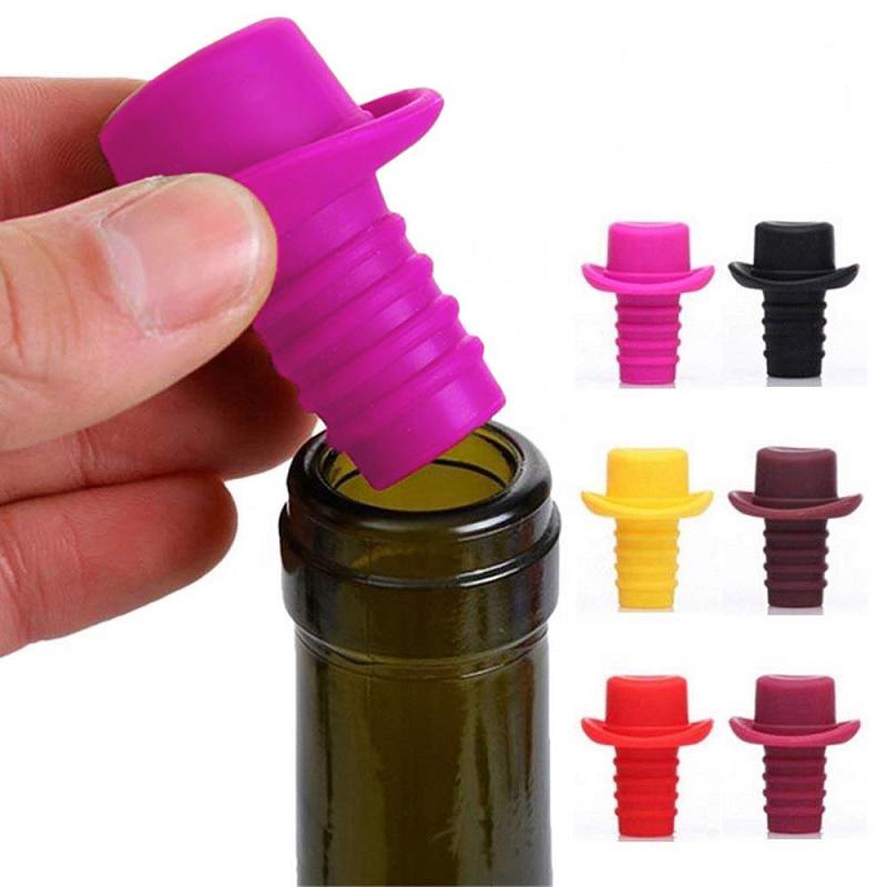 Пробка Для Бутылок Шляпа Silicone Bottle Stoppers, Цвет Розовый