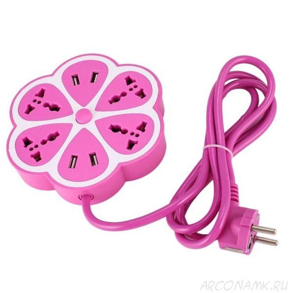 Многофункциональный сетевой USB удлинитель Цветок, Цвет: Розовый