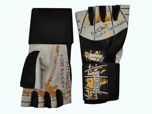 Перчатки тренировочные для тяжёлой атлетики без пальцев, материал: кожа, ткань. Цвет серые. Размер L. 16587