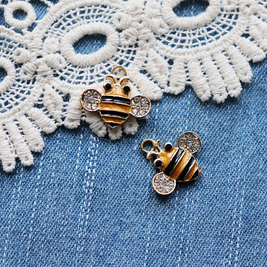 Подвески металлические с эмалью, Пчелка со стразами, 28*24 мм, 1шт