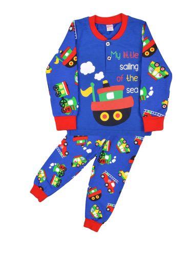 Пижама с начесом, для мальчиков 2-6 лет BN922 голубой