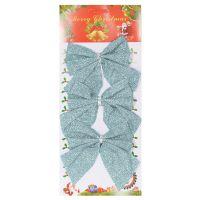 Новогоднее украшение Блестящие бантики, 3 шт, цвет синий (2)
