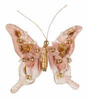 Бабочка розовая 12*12 см клипса