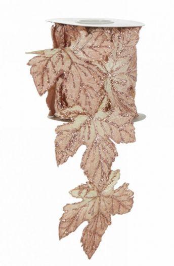 Лента листок розовый