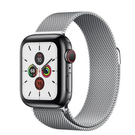 Apple Watch Series 5 Space Black Stainless Steel Case 44mm GPS + Cellular Silver with Milanese Loop