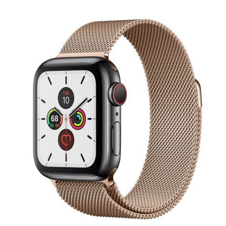 Apple Watch Series 5 Space Black Stainless Steel Case 40mm GPS + Cellular Gold with Milanese Loop