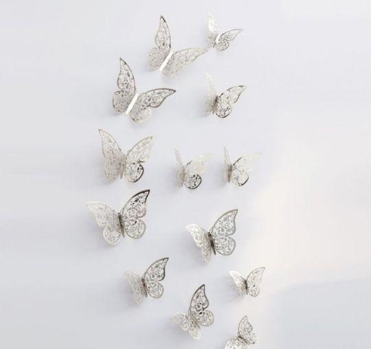Бабочки для декора Серебро