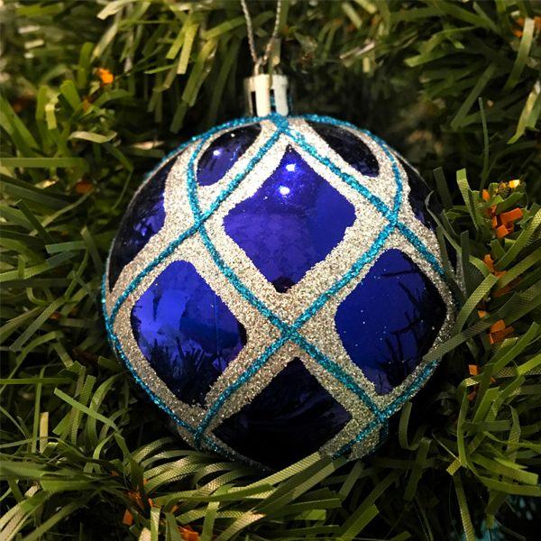 Набор елочных игрушек Шары с геометрическим рисунком 7.5 см, 6 шт., Синий