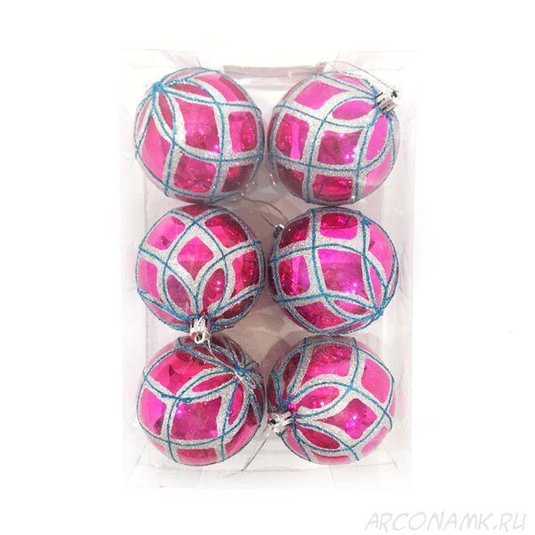 Набор елочных игрушек Шары с геометрическим рисунком 7.5 см, 6 шт., Розовый