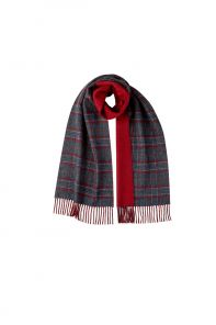 Роскошный двусторонний кашемировый шарф (100% драгоценный кашемир) ГАМИЛЬТОН КОНТРАСТ- ТРАДИЦИОННАЯ ВИНДЗОРСКАЯ КЛЕТКА ГЛЕНЧЕК + РУБИНОВЫЙ, высокая плотность 7.