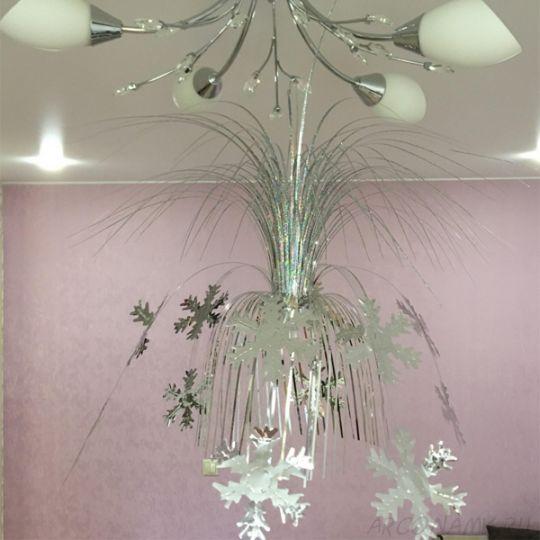 Подвесной фольгированный фонтан-каскад, 55 см., Снежинки
