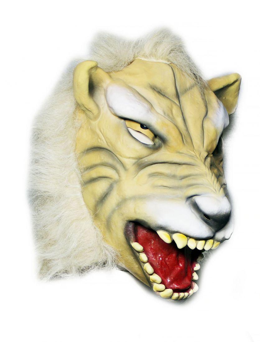 Латексная маска белого тигра