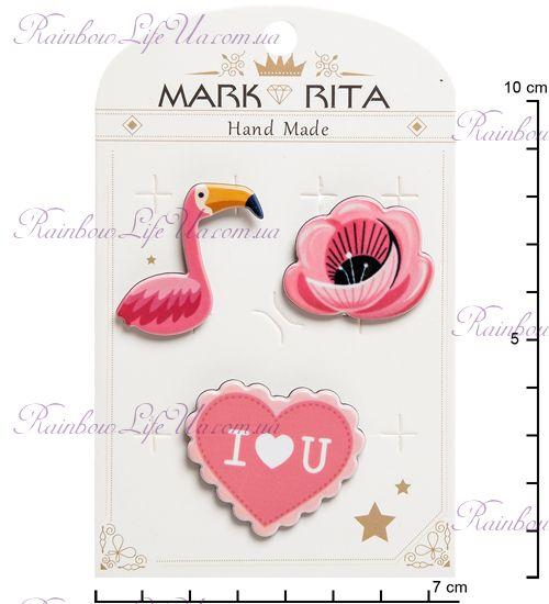 """Набор брошей с цанговым зажимом бабочка Фламинго """"Mark Rita"""""""