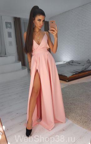 Розовое вечернее платье в пол с разрезом