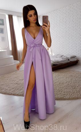 Лиловое вечернее платье в пол с разрезом