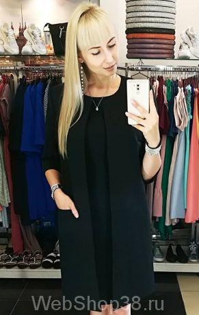 Костюм черное платье и кардиган