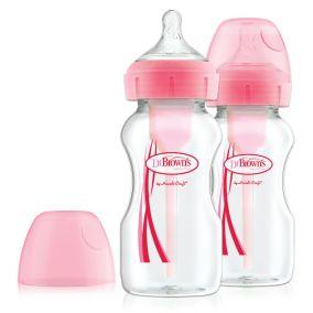 """Dr.Brown's Natural Flow® Набор из 2-х цветных антиколиковых бутылочек с широким горлышком """"Options+"""" по 270 мл, розовый, (арт. WB92601)"""