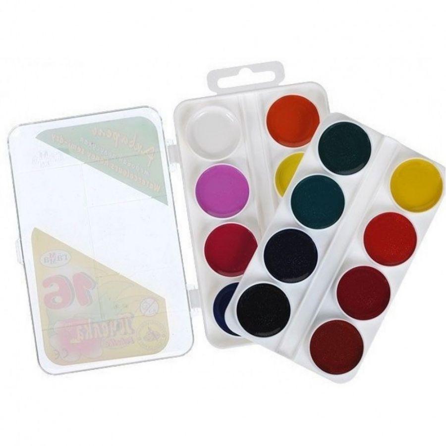 Краски акварельные 16 цвета ГАММА  Пчелка  пластиковая упаковка