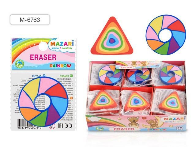 Ластик MAZARI  Rainbow  синтетический фигурный  цветаетной ассорти