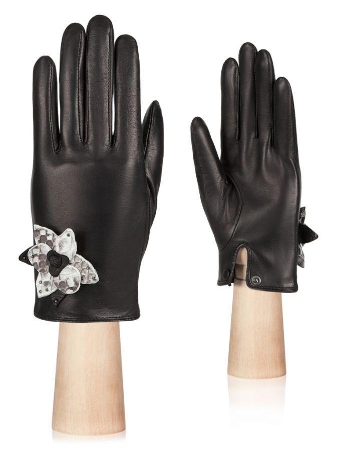 Кожаные перчатки с декоративным цветком ELEGANZZA