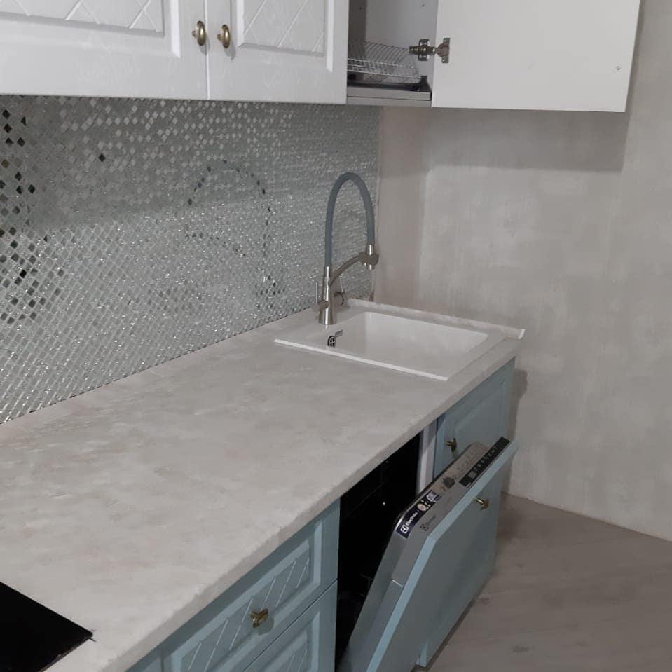 """Кухонный гарнитур """"Гранд"""" цвет Белый / Зелёный"""