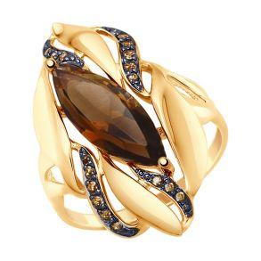 Кольцо из золота с раухтопазом и жёлтыми фианитами 714800 SOKOLOV