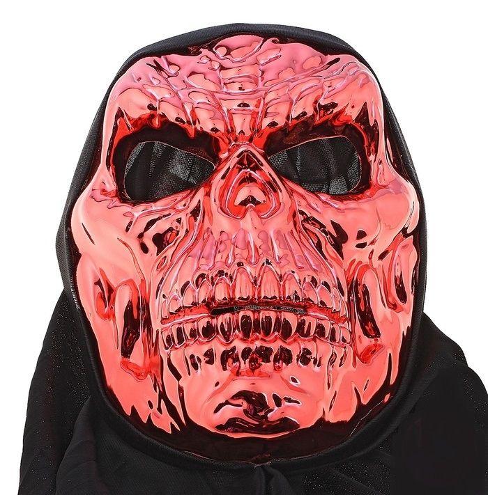 Красная маска черепа в черной накидке