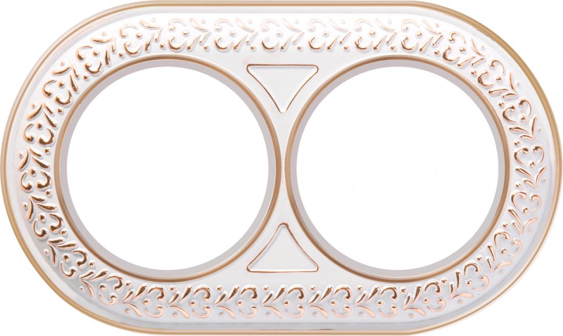 Рамка на 2 поста WL70-frame-02 белое золото
