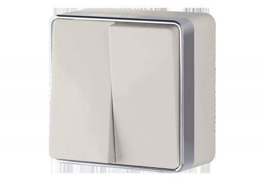Выключатель двухклавишный WL15-03-01 слоновая кость