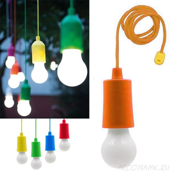 Светодиодная лампочка на шнурке Led Stretch Switch Light, Цвет: Оранжевый