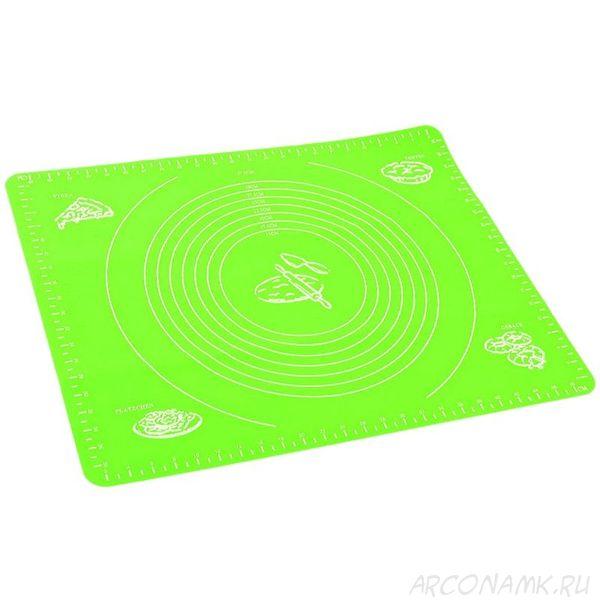 Силиконовый коврик для раскатывания теста, 50х40 см.,Цвет: Зелёный