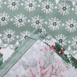Новогодняя скатерть СНЕГОВИКИ 150х220 зеленая