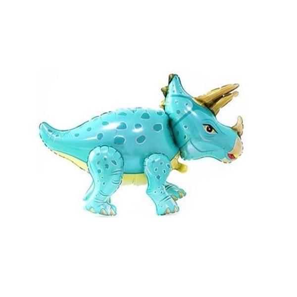 Динозавр трицератопс бирюзовый ходячий шар фольгированный
