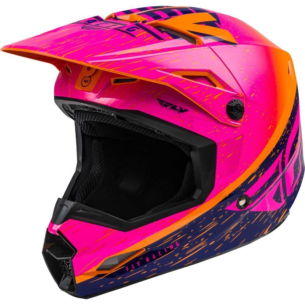 Fly Racing - 2020 Kinetic K120 Youth Orange/Pink/Dark Blue шлем подростковый, оранжево-розово-синий