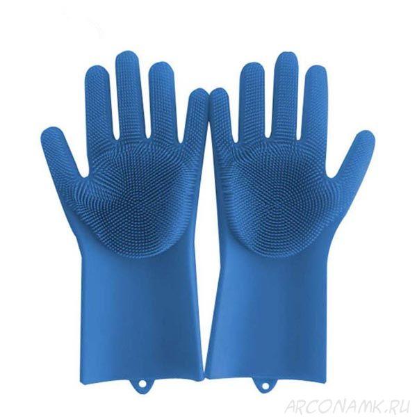 Многофункциональные силиконовые перчатки Magic Brush, 2 шт., Цвет: Синий