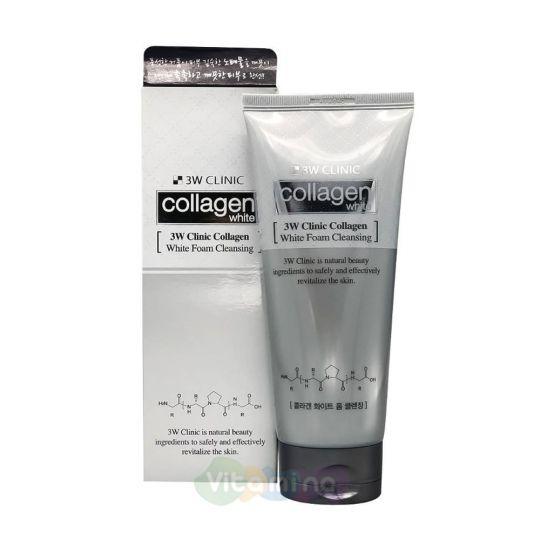 3W CLINIC Осветляющая пенка с коллагеном и ниацинамидом Collagen Whitening Foam Cleansing, 180 мл