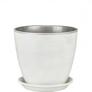 горшок бутон бел/серебро 15см (ЭК 02/2)