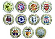 НАБОР 10 рублей Футбольные клубы мира (10шт), цветная эмаль + гравировка