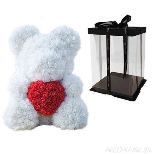 Мишка из роз с сердцем в подарочной коробке, 40 см., Белый