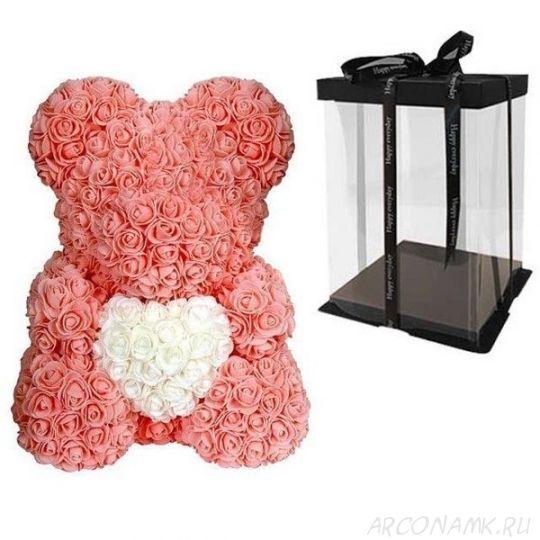 Мишка из роз с сердцем в подарочной коробке, 40 см., Персиковый