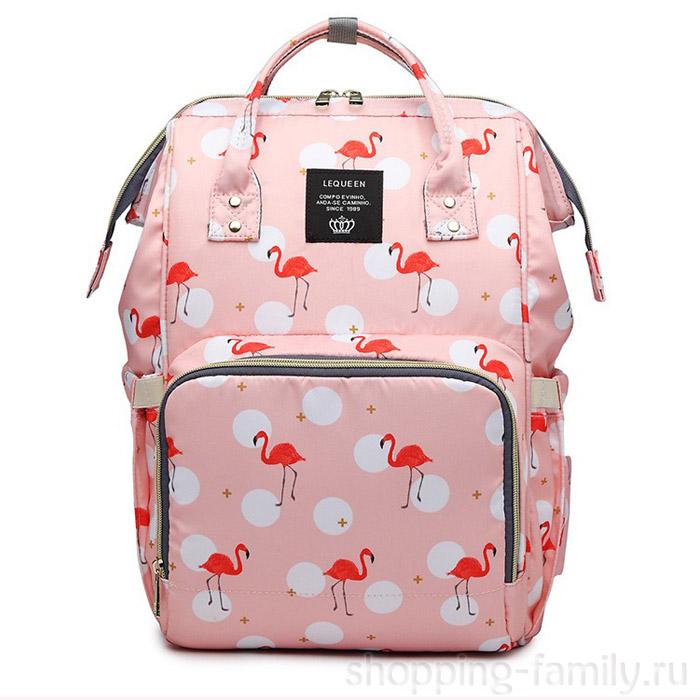 Сумка-рюкзак для мамы Mummy Bag Фламинго , Цвет Розовый
