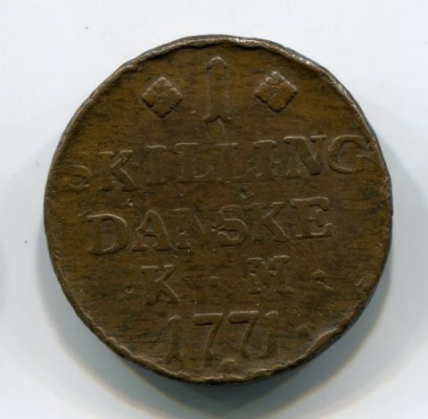 1 скиллинг 1771 года Дания XF-